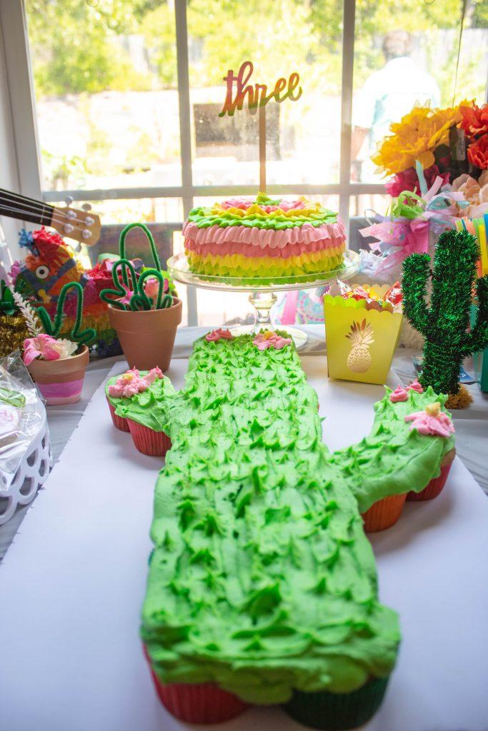 Three Esta Cactus Birthday cupcakes and confetti cake