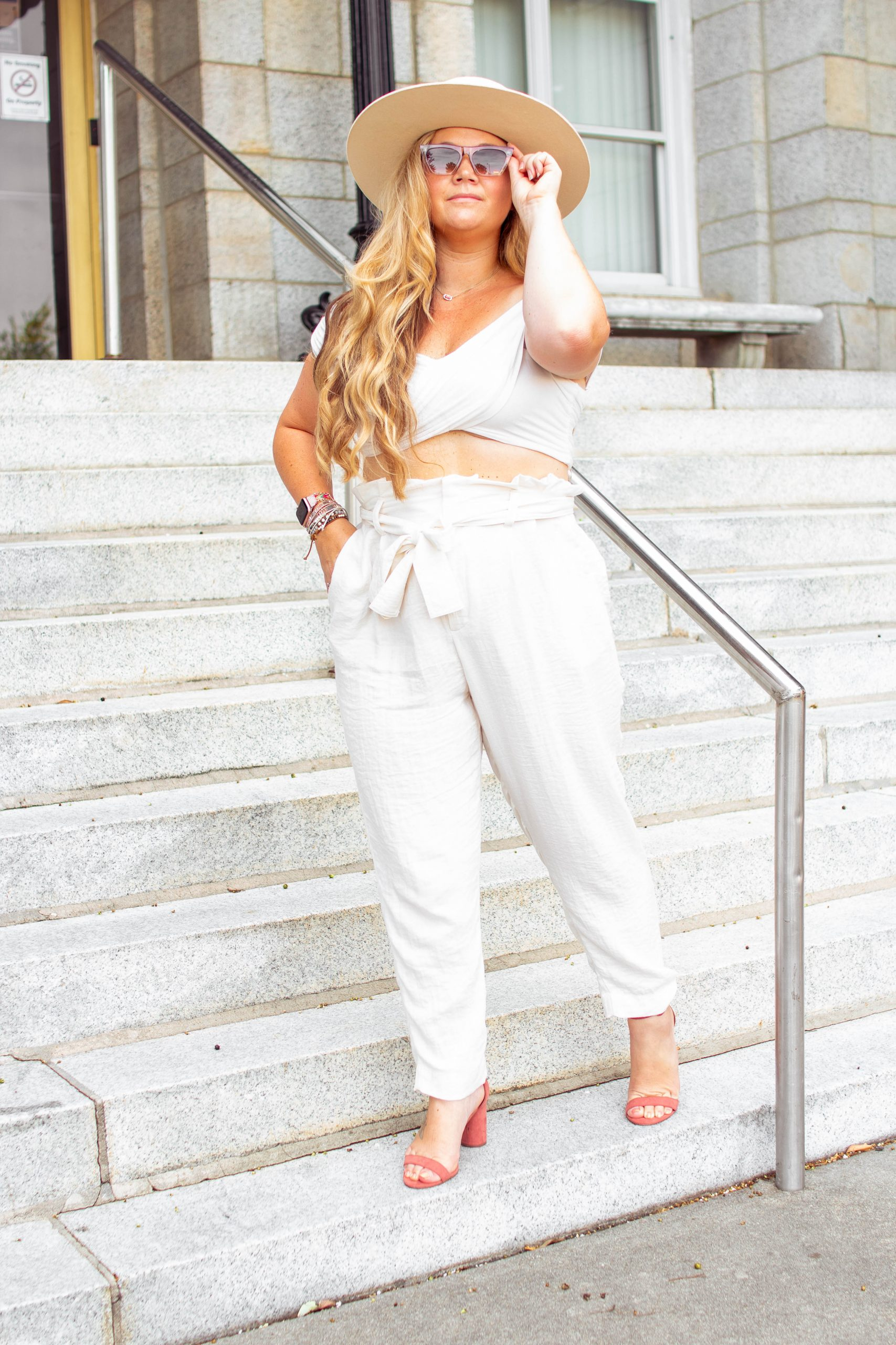 Nicki odom The Boho Diaries in White Linen Pants and White Crop top for White Party