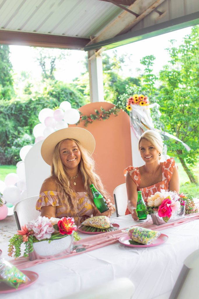 Nicki Odom and Samantha Parrish on The Boho Diaries Blog Drinking Perrier