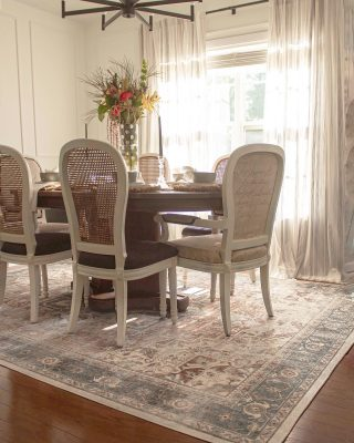 I am SO excited to finally share our finished dining room, completed with our newest @ruggable rug that I think just ties it all together! Being a #RuggablePartner means I choose to outfit our home with quality stylish rugs that look great, but what's better, they're totally washable! I have to admit, even I have a spill almost every meal, so knowing I can just roll this up and wash it in our machine makes #Ruggable a huge mom win! I love the style of the new Kamran Coral Rug. We have a matching runner in the kitchen that has the cushioned pad so make sure you head to my stories to see that and this beautiful rug up close and personal! We have 3 Ruggables in our home now and I definitely recommend them, especially for households that are busy and for high traffic areas that need some sprucing! When you go to order make sure you use FUNNICKIO10 for 10% your purchase or head to the link in my profile to shop directly with the promo code!   Do you have a spot in your home you're looking to spruce up?  #kamrancoral  #diningroomrug #diningroomdecor #kitchenrunner #runnerrug #rugsofinstagram #ruginspo #homedecorinspo #bohomodern #bohohomedecor #newrug #heyhomehey #myhomesweethome #diningroomdesign #diningroominspo #diningroomideas #homeblogger
