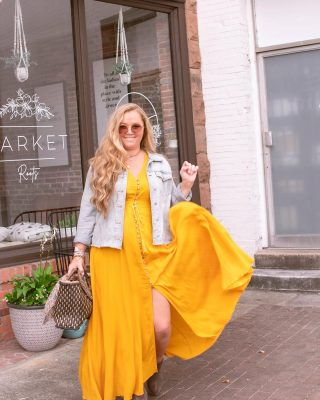 Hello September ☀️ Feeling sunny and torn between throwing on my bikini 👙for a pool party and lighting all the 🎃pumpkin spice candles and pulling on my boots. 🥾  Where are you on the season-o-meter? Are you still living for Summer or full out Fall?  This maxi dress goes from summer to fall in 1 second! This yellow lights up my life, and just add a Jean jacket and some boots and you're fall ready! Transitional staples are a must for me and maxi dresses are one of my favorites for filling that spot!  Follow my shop on the @shop.LTK app to shop this post and get my exclusive app-only content!  http://liketk.it/3mRUK  #maxidress #jeanjacket #ankleboots #transitionalstyle #liketkit #LTKunder50 #LTKcurves #LTKSeasonal #yellowdress #shopltk #curvyfashion #ltkcurves  #sizel #size10 #size12style #midsizestyle #midsizefashion #transitionalstyle #summertofall #blondeblogger #northcarolinablogger #bloggerstyles #fashionblogger #bodyconfience #streetstyles #fayncbloggers #downtownfayetteville #fayettevillenc