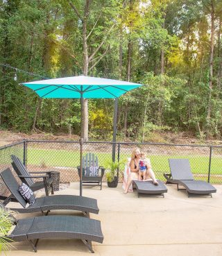 Sitting poolside with our besties will forever be our favorite💗 and as long as it keeps reaching 92 degrees 🔥every day in NC, you'll know where to find us! Thankfully we're shaded with this gorgeous teal umbrella from @abba_patio so I don't have to worry about the little ones getting too much sun! They have so many pretty designs to make your deck and patio areas feel like you're sitting in luxury.   #sponsoredpost #abbapatio #patiogoals #patiodecor #patiofurniture #patiodesign #poolsidevibes #patioideas #patioinspo #outdoorinspo #outdoorumbrella #northcarolinablogger