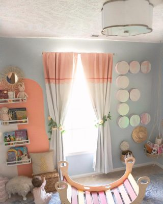 Sunday morning hangs with Ellie are the best. The sun rises through her window and gives the best light for playtime. For all other times of the day, her adorable light fixture from @lightsdotcom keeps us playing all day. How perfect is this scalloped detail and brass edging? It was like it was made for her nursery☺️ They sent us her light and these dreamy Hedra Leafy Fairy String Lights that I used around her mirror, and she uses as a night light☺️ They have a great Memorial Day sale going on until tomorrow on select styles, and it includes these two lights! Head to the link below or #linkinbio👆   Shop her light fixtures and room here 👉🏼 http://liketk.it/3gs9g  #babynurserydecor #lightfixtures #lightsdotcompartner #lightsdotcom #memorialdaysale #shopsale #ltkhome #nurserydecorideas #nurseryinspo #girlsnursery #stringlights #flushmount #lighting #lightingiseverything #babygirlnursery  #babynursery #bohonursery #bohonurserydecor